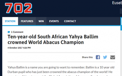 Ten-year-old South African Yahya Ballim crowned World Abacus Champion